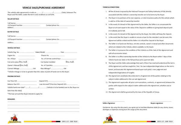 Car Sale Purchase Agreement Forms In Kenya 5 Free Printable Templates Bee Mashine